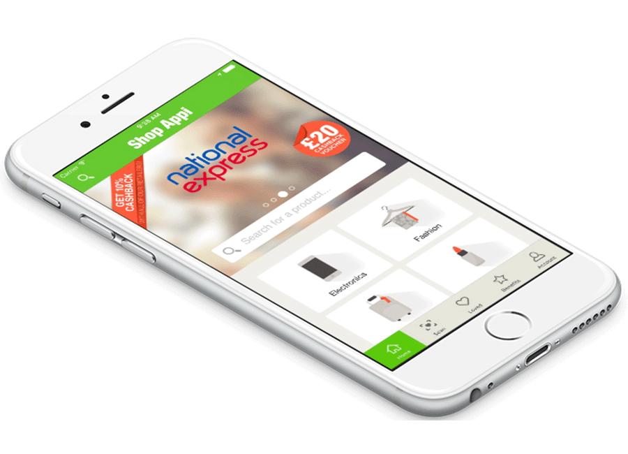 Logo de ShopAppi avec un téléphone et sur son écran les image du programme de Webloyalty